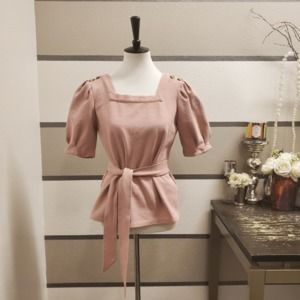 Anthropologie-Current Air Pink Belted Blouse